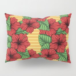 Hibiskcus and leaves, tropical pattern Pillow Sham