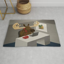Maurice, the moose who wanted to work in an office Rug