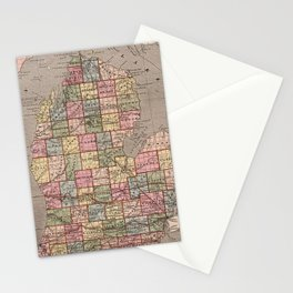 Vintage Map of Michigan (1844) Stationery Cards
