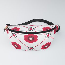 Beautiful Asian Japanese Origami Paper Red Flower Pattern Art Fanny Pack