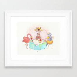 Animal tea party Framed Art Print