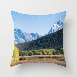 Snow capped mountain and autumn trees Throw Pillow