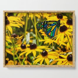 Surreal Monarch on Flowers Serving Tray