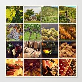 Wine Vineyard Collage - Cafe or Bar Decor Canvas Print