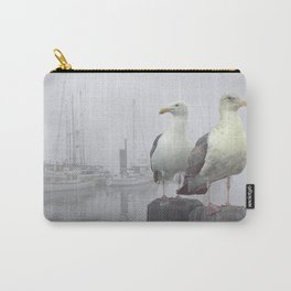 Two Sea Gulls in a Misty Harbor with Sailboats and Fishing Boats on Vancouver Island Carry-All Pouch
