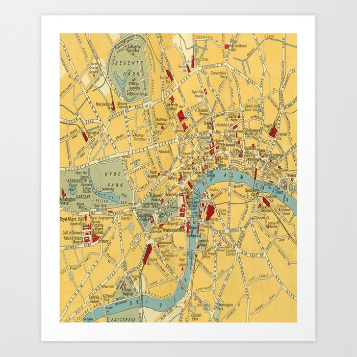Map Of Central London To Print.Vintage Map Of Central London Art Print