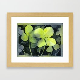 Clover Watercolor Four Leaf Clover Painting Lucky Charm Pattern Framed Art Print