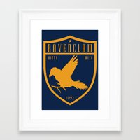 ravenclaw Framed Art Prints featuring Ravenclaw Crest by machmigo