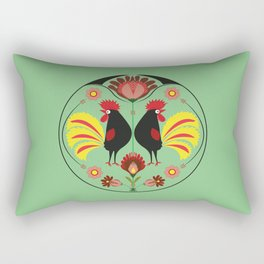 Polish Folk With Decorative Roosters Rectangular Pillow