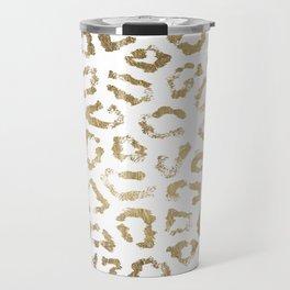 Modern white chic faux gold foil leopard print Travel Mug