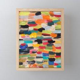 Multi-colored paint strokes Framed Mini Art Print