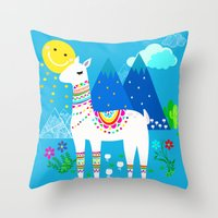 Throw Pillows featuring Peru Blue Skies by MY  HOME