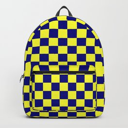 Electric Yellow and Navy Blue Checkerboard Backpack