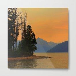 Redfish Lake sunset Metal Print