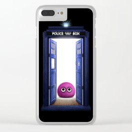Tardis And Cute Monster Clear iPhone Case