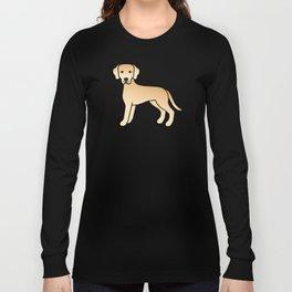 Yellow Labrador Retriever Dog Cute Cartoon Illustration Long Sleeve T-shirt
