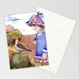 Girl and Gull by the Gulf. Stationery Cards