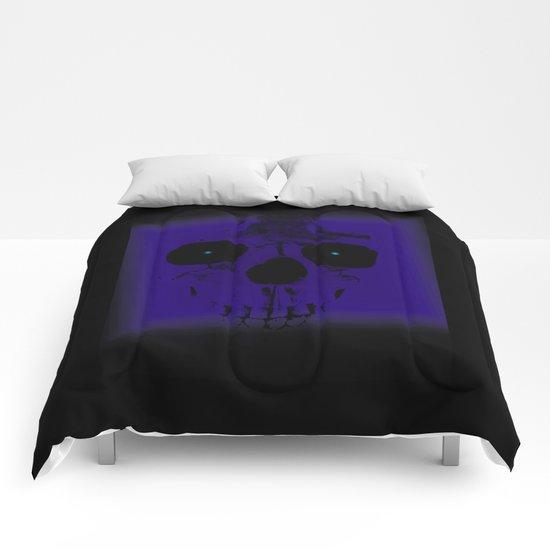 Blue Skull on Black Comforters