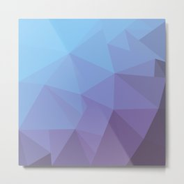 Blue and Purple Geometric Triangle All Over Gradient Pattern Metal Print