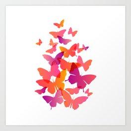 Butterfly Pink Butterflies Flying Off Art Print
