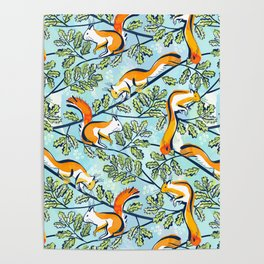 Oak Tree with Squirrels in Summer Poster