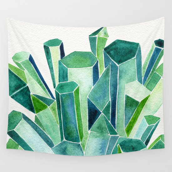 Emerald Watercolor Wall Tapestry