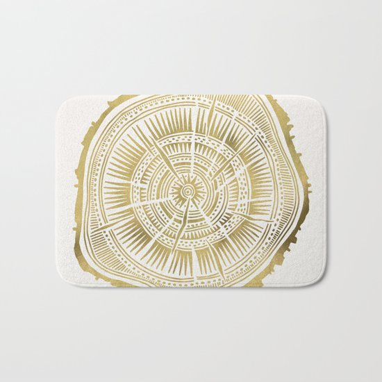 Paper Birch – Gold Tree Rings Bath Mat