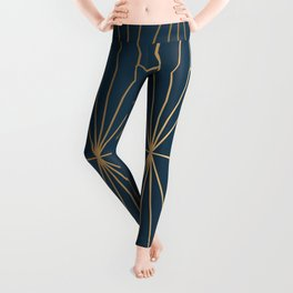 Benjamin Moore Hidden Sapphire Geometric Gold Pattern  Leggings