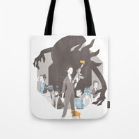 alien Tote Bags featuring Alien by Florey