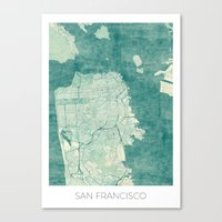 san francisco map Canvas Prints featuring San Francisco Map Blue Vintage  by City Art Posters