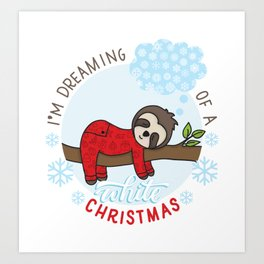 Sloth dreaming of a White Christmas Art Print