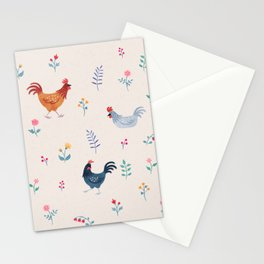 Little Hens (ivory) Stationery Cards