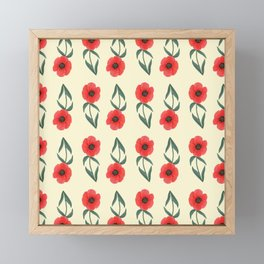 Red poppies with pale yellow background | Spring vibrant pattern Framed Mini Art Print