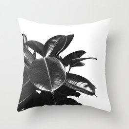 Black Ficus Elastica Throw Pillow