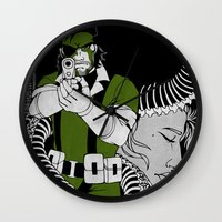 metal gear solid Wall Clocks featuring Metal Gear Solid 3: Snake Eater by Monserratt