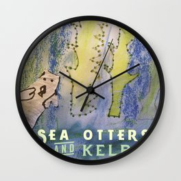 Sea Otters and Kelp Wall Clock