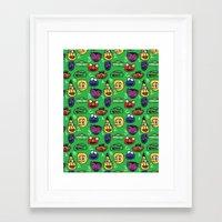 sesame street Framed Art Prints featuring Sesame Street Pattern by MOONGUTS (Kyle Coughlin)