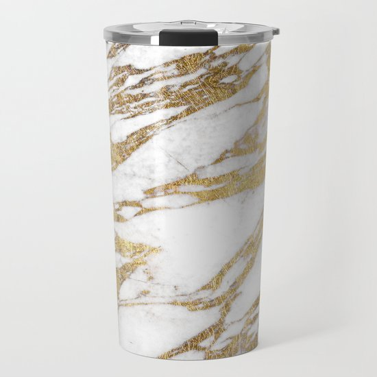 Chic Elegant White and Gold Marble Pattern by blackstrawberry