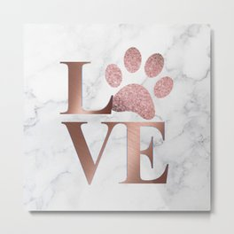 Love is a Four Letter Word - Rose Gold and Marble Metal Print