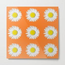 Retro Daisy · Orange Metal Print