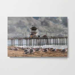 Surf City Seagulls Metal Print