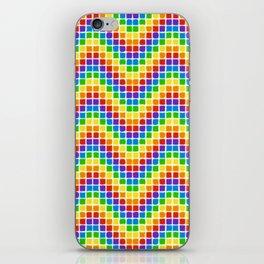 Rainbow Mosaic Chevrons on White iPhone Skin