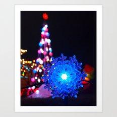 Blue snowflake Art Print