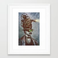 suit Framed Art Prints featuring The Projectionist (colour option) by Eric Fan