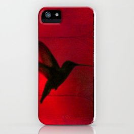 Hummingbird Behind the Red Blinds by CheyAnne Sexton iPhone Case