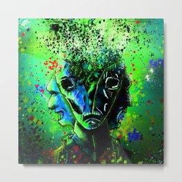 Split-face Green Metal Print