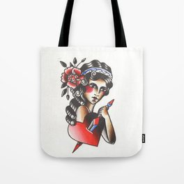 Girl with The Dagger through the Heart Tattoo Flash Watercolor Tote Bag