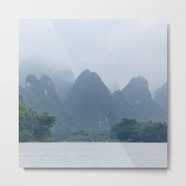 Misty Mountains of Guilin China Metal Print