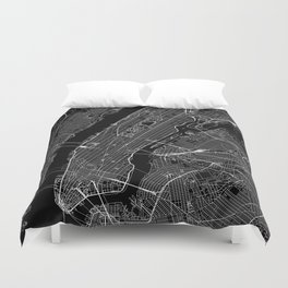 New York City Black Map Duvet Cover