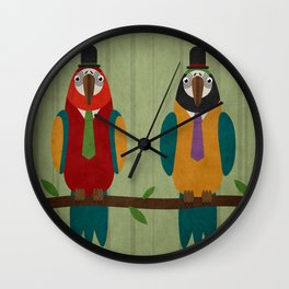 Suited parrots Wall Clock